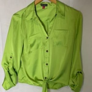 Vince Camuto Chartreuse Blouse Ties at Waist